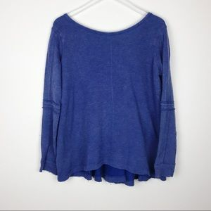 Free People | Oversized Blue Scoop Neck Sweater